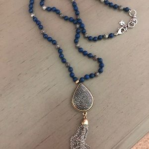 Lucky Brand Navy, Silver, and Gold Tassel Necklace